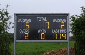 Modern electronic scoreboard at Shadwell Cricket Ground